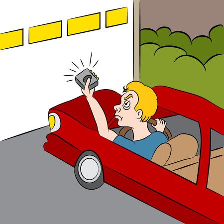puerta: Una imagen de un hombre de la historieta frustrado de que la puerta de su garaje no se abrirá. Vectores