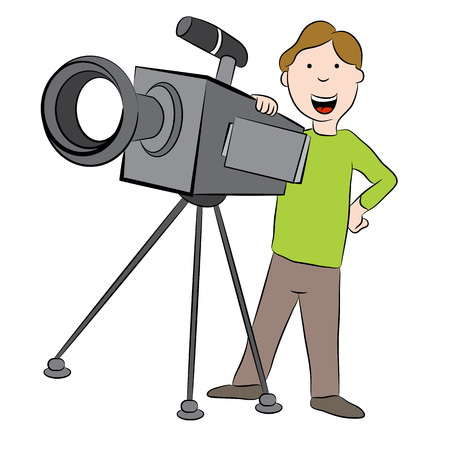 An image of a cartoon cameraman standing behind television camera. Stock Vector - 43649259