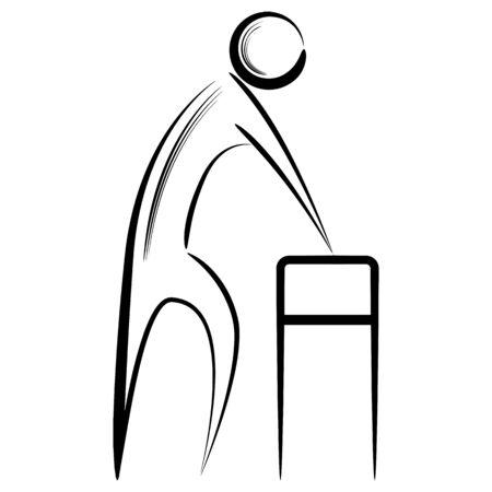 citizen: A image of an abstract senior citizen using a walker.