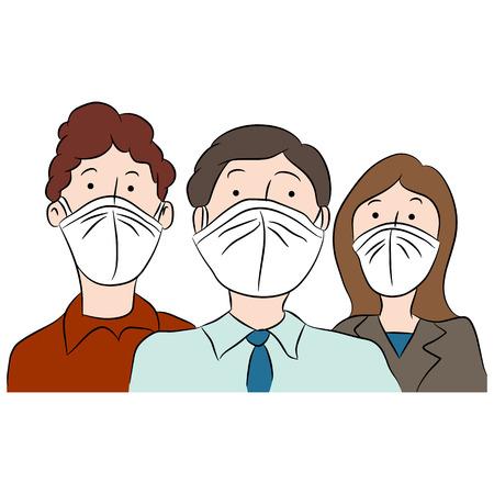 Een afbeelding van de spotprent mensen het dragen van maskers om zichzelf te beschermen tegen de ziekte.