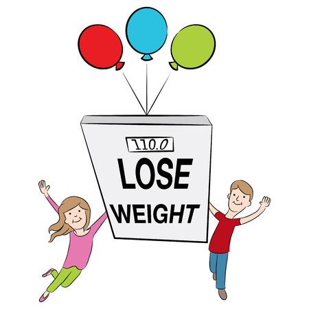 漫画子供減量をサポートし、健康であることのイメージ。