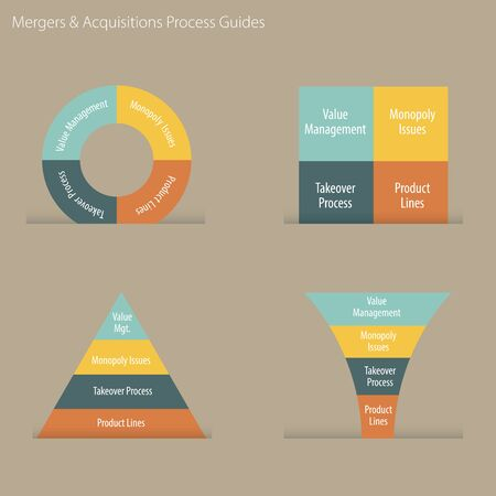 An image of a merger and acquisition business process guide chart. Иллюстрация