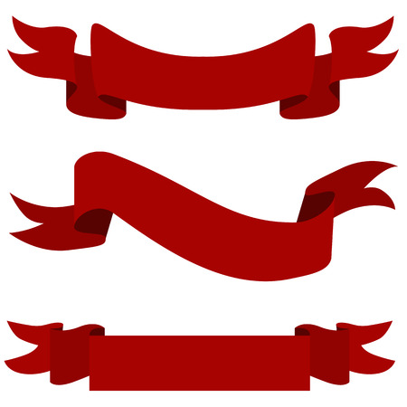 An image of a red ribbon banner icon set. 向量圖像