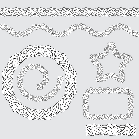 knotted: An image of a repeating rope pattern icon set.