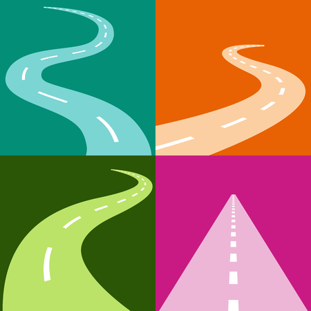 curved road: An image of a winding and curving road icon set.