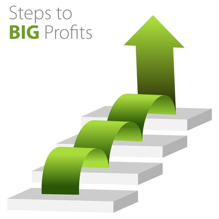 profit: An image of a steps to big profits business background. Illustration