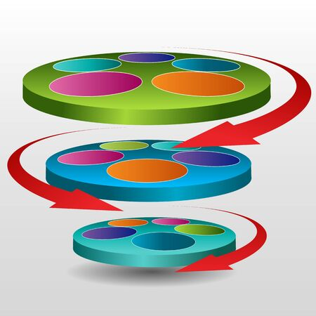 An image of a 3d rotating disc chart icon. Иллюстрация