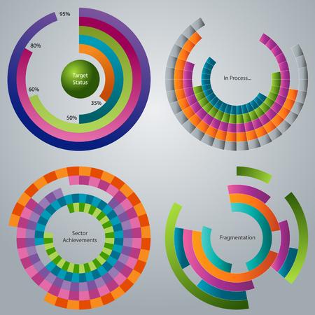 비즈니스 프로세스 단계 휠 세트의 이미지. 일러스트
