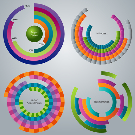 fragmentation: An image of a a business processing stages wheel set. Illustration