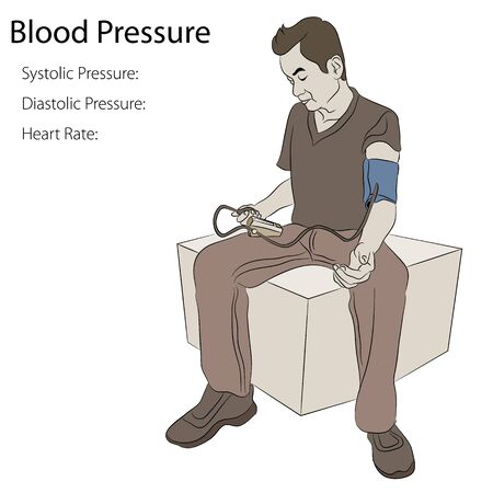 systolic: An image of a man taking his blood pressure.