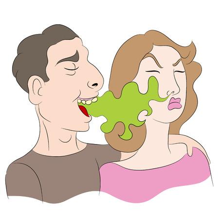 Ein Bild von einer Karikatur einer Frau bemerkte einen Mann hat Mundgeruch.