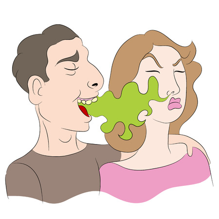 An image of a cartoon of a woman noticing a man has bad breath.