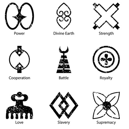 slavery: An image of an African Adinkra symbol icon set.
