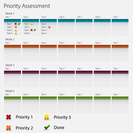 Een beeld van een bedrijf prioriteit evaluatie grafiek icoon. Stock Illustratie