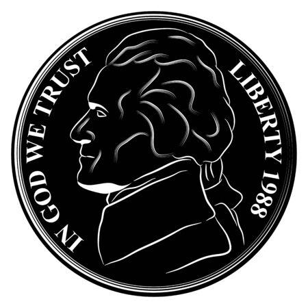 미국 통화 니켈 동전의 이미지입니다. 일러스트