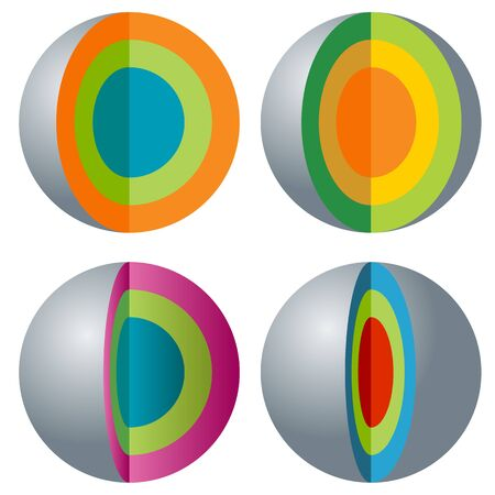 layered sphere: An image of a 3d layered sphere icon set.