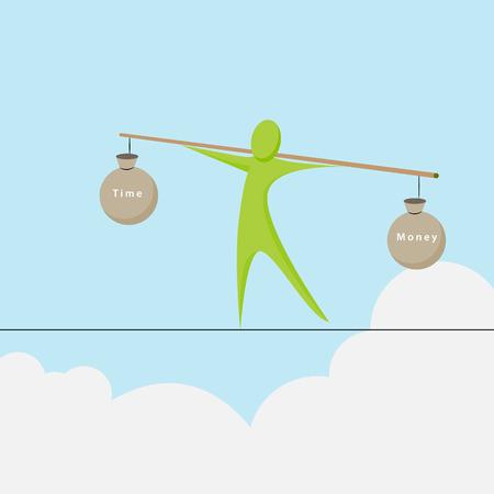 Una imagen de una figura abstracta tratando de equilibrar entre el tiempo y el dinero. Foto de archivo - 44277028