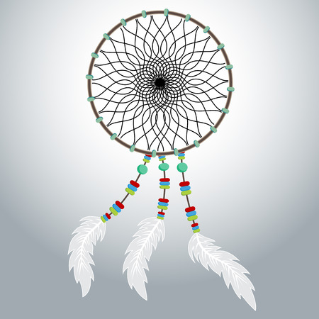 An image of a native American dreamcatcher. Illustration
