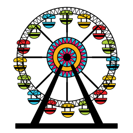 a wheel: An image of a colorful ferris wheel amusement park ride. Illustration