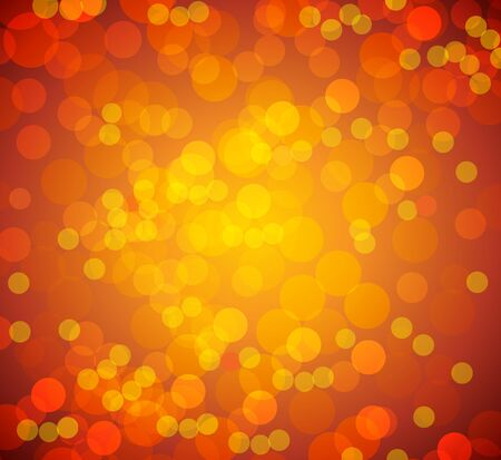 An image of a orange bokeh blurry lights background. Ilustrace