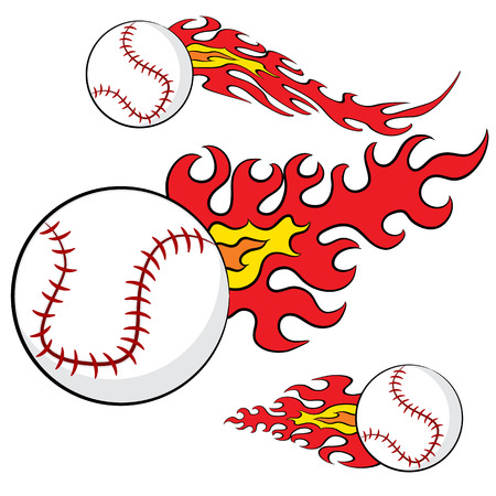fast pitch: An image of an abstract set of baseballs with flames.
