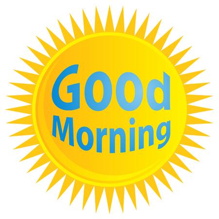 좋은 아침 텍스트와 일출의 이미지. 일러스트