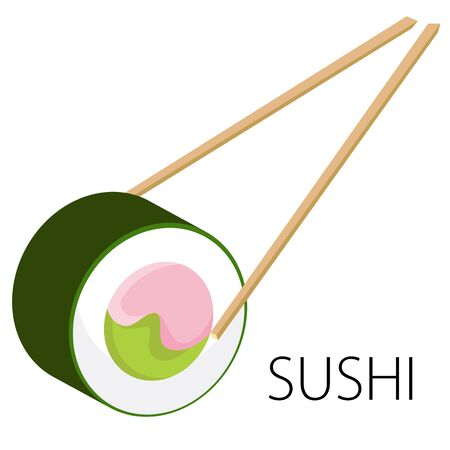 An image of sushi with chopsticks.