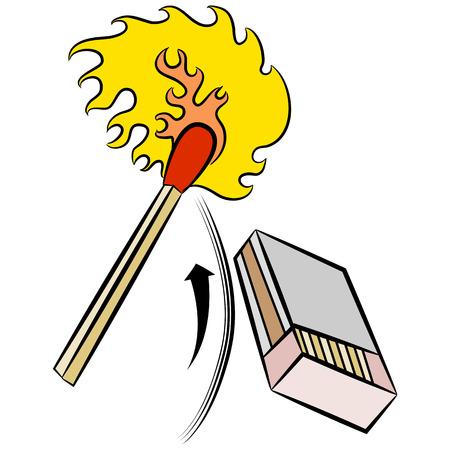 caja de cerillas: Una imagen de una cerilla que se enciende al golpear a una caja de cerillas.