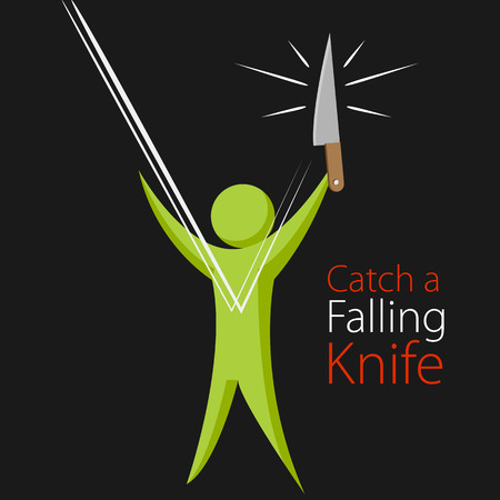 catch: An image of the metaphor to catch a falling knife.