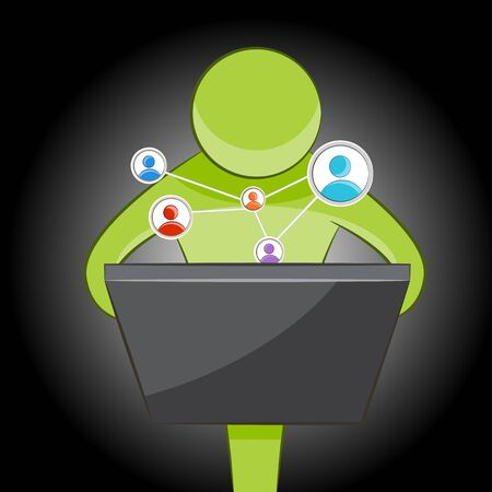 An image of an abstract person using social networking to communicate. Illustration