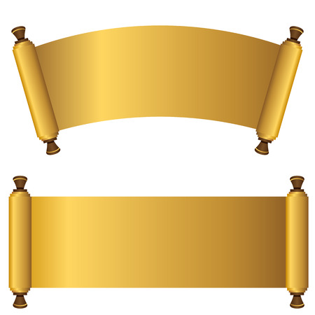 scroll: An image of a 3d gold scroll set.