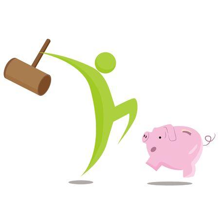 Een beeld van een verbreking van de bank metafoor cartoon.