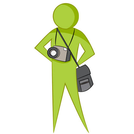 professional occupation: An image of an abstract photographer with camera and bag.