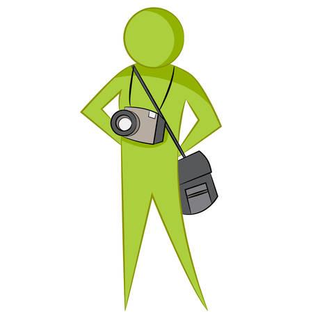 L'immagine di un fotografo astratto con la macchina fotografica e la borsa. Archivio Fotografico - 44521997