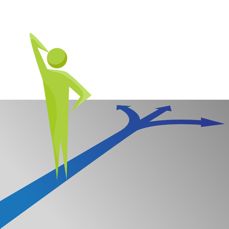 An image of a business decision making metaphor. Illustration