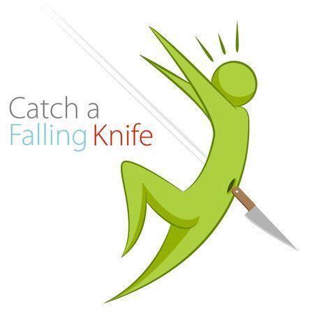 metaphors: An image of the metaphor to catch a falling knife.