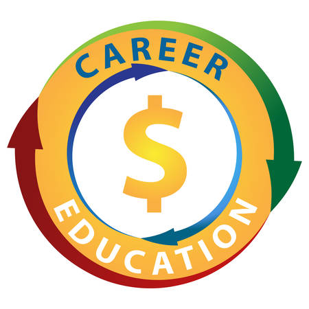 earn more: An image of education leading to making more money in your career icon. Illustration