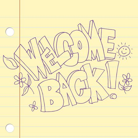 An image of a welcome back text icon. Çizim
