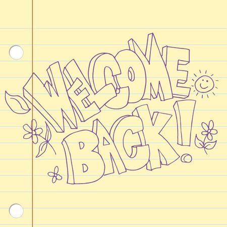 bienvenida: Una imagen de un icono de texto de nuevo bienvenido.