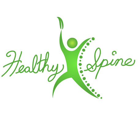 osteopathy: An image of a healthy spine background icon. Illustration