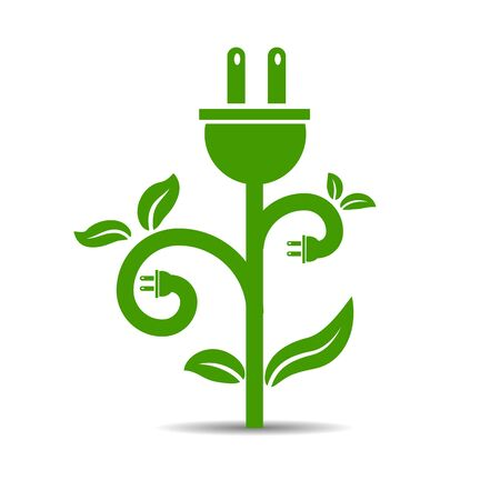 An image of a green energy plant symbol. Ilustracja