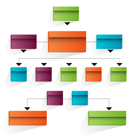 An image of a 3d corporate organizational chart. Stock Illustratie