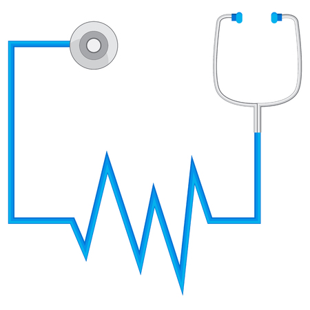 auscultation: An image of an abstract stethescope used to measure heart rate and blood pressure.