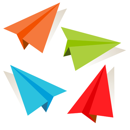 An image of a 3d paper airplane icon set.  イラスト・ベクター素材