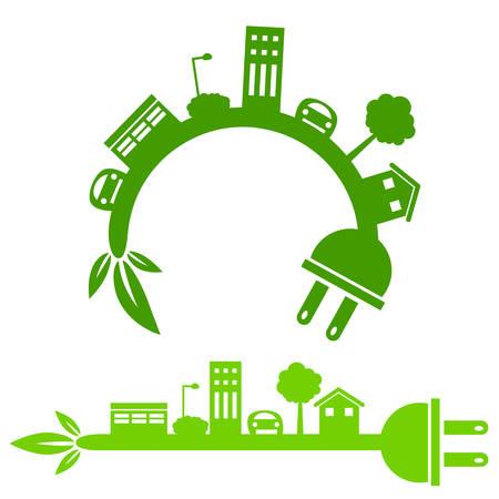 An image of a green energy city icon. Ilustração