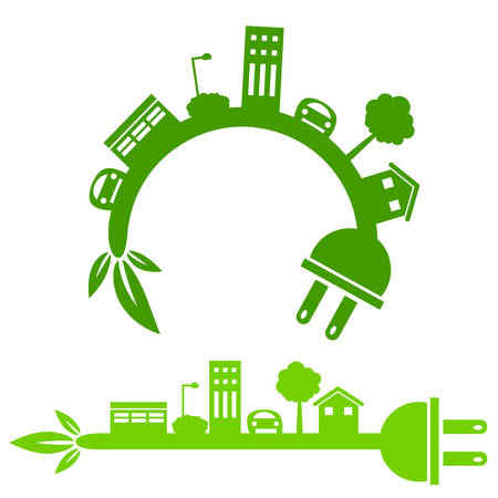 city icon: An image of a green energy city icon. Illustration