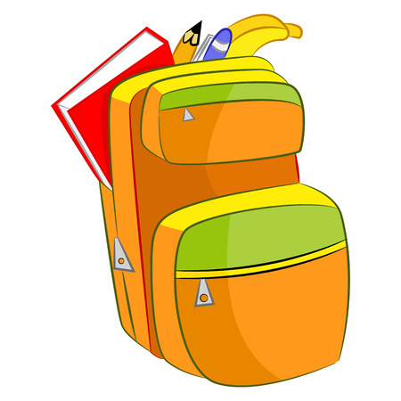 packsack: An image of a cartoon student backpack. Illustration