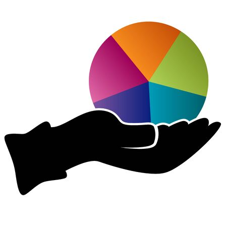 diversification: An image of a hand holding a pie chart representing diversification icon. Illustration