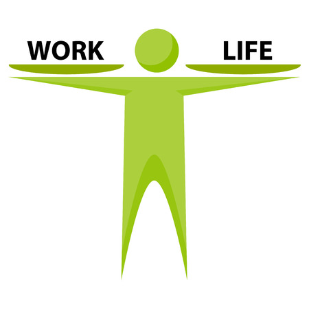 work life balance: An image of an abstract person trying to make a balance between life and work.