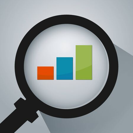 An image of a business analysis with magnifying glass icon. Çizim